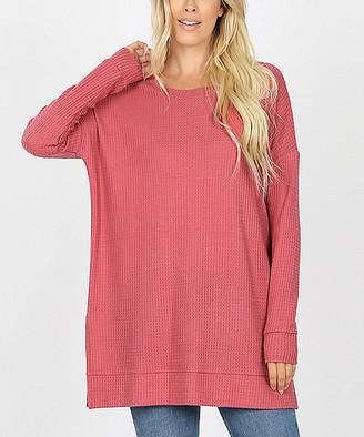 Lydiane Women's Pullover Sweaters ROSE - Rose Crewneck Side-Slit Waffle-Knit Tunic - Women & Plus