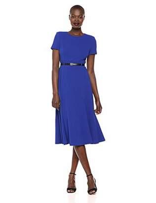 Calvin Klein Women's Short Sleeve Belted Midi Dress