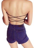 Laimeng Lace Spandex Padded Strapless Crop Top Bra
