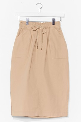 Nasty Gal Womens paperbag waist casual midi skirt - Beige - L
