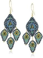 Miguel Ases Blue Green Lotus Petal Three-Drop Earrings