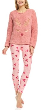 It's Just A Kiss Women's Plush Sherpa Printed Long Sleeve Top and Pajama Set
