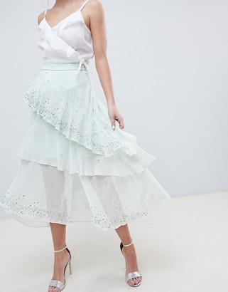 ASOS DESIGN embellishment asymmetric ruffle high low midi skirt