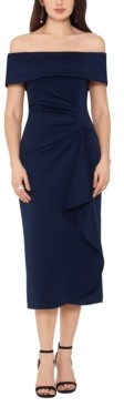 Xscape Evenings Off-The-Shoulder Ruched Dress