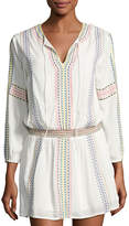 philosophy Split-Neck Embroidered Tunic, Ivory