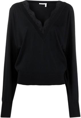 Chloé Black Silk And Lace V-neck Jumper