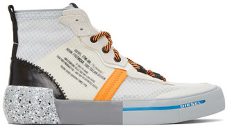 Diesel White and Orange S-Dese Sneakers
