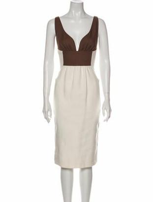 Valentino Colorblock Pattern Midi Length Dress