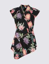 Limited Edition Floral Oriental Print Cap Sleeve Shell Top