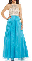 Masquerade Halter Neck Beaded Bodice Ball Gown