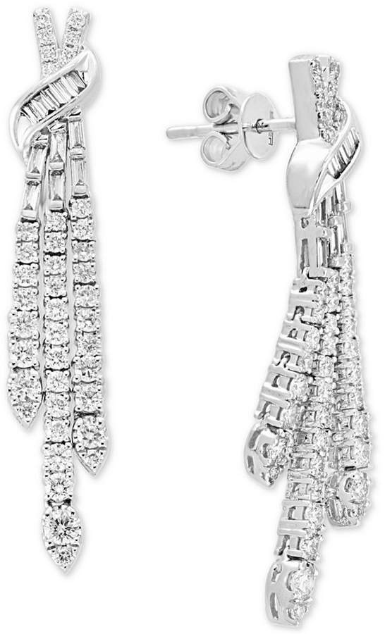 Effy Pave Classica by Diamond Drop Earrings (1-1/3 ct. t.w.) in 14k White Gold