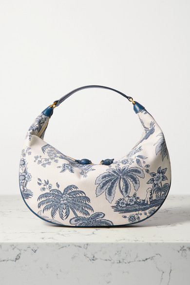 STAUD Sasha Leather-trimmed Printed Cotton-canvas Shoulder Bag - Blue