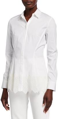 Lela Rose Diamond-Eyelet Hem Poplin Shirt
