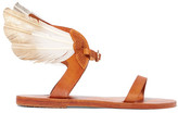 Ancient Greek Sandals + Caravana Ikaria Tulum Feather-embellished Leather Sandals - Tan