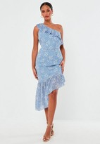 Missguided Blue Floral Print One Shoulder Ruffle Midi Dress