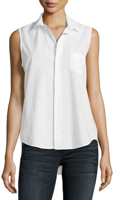 Frank And Eileen Fiona Sleeveless Italian Twill Shirt, White