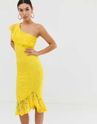AX Paris frill detail one shoulder midi dress-Yellow