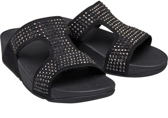 FitFlop Womens Glitzie Slide Sandals Black