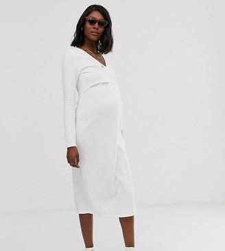ASOS DESIGN Maternity super soft v front tie midi dress
