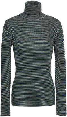 M Missoni Crochet-knit Wool-blend Turtleneck Top