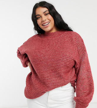 Yours balloon sleeved ribbed jumper in pink