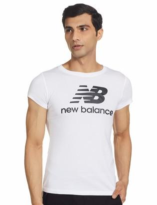 New Balance Women's Essentials Stacked Logo T-Shirt Blanco/Negro M