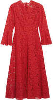 Valentino Corded Stretch-silk Guipure Lace Dress - Red