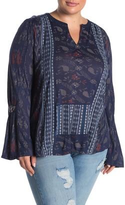 Lucky Brand Split Neck Bell Sleeve Blouse (Plus Size)