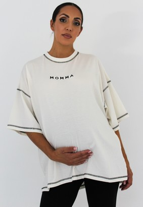 Missguided White Momma Embroidered Maternity T Shirt