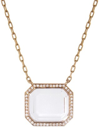 Walters Faith Bell Diamond and Rock Crystal Rectangular Pendant Rose Gold Necklace