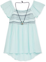 Beautees Smocked Peasant Blouse & Necklace Set, Big Girls (7-16)