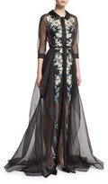 Carolina Herrera Floral-Embroidered Organza Trench Gown, Black