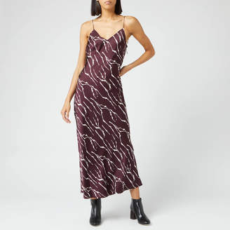 Whistles Women's Dagma Twig Print Slip Dress - Burgundy - UK 6