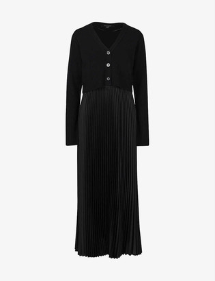 AllSaints Andrea 2-in-1 recycled polyester and wool-blend midi dress
