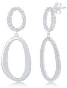 La Preciosa Double Oval-Shaped Cubic Zirconia Silver/14k Gold Plated Sterling Silver Statement Dangling Earrings