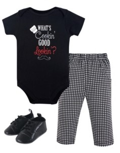 Little Treasure Unisex Baby Bodysuit, Pant and Shoes, What's Cooking, 3-Piece Set, 6-9 Months (9M)