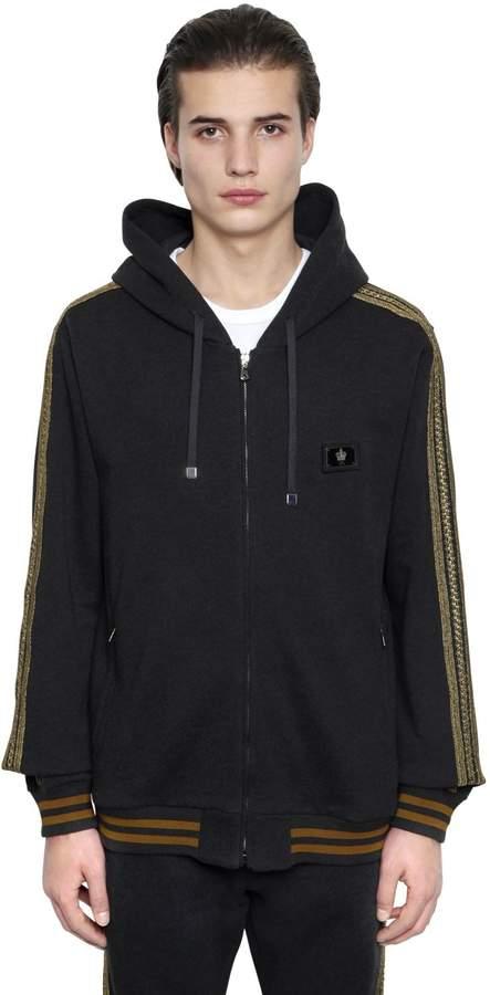 Dolce & Gabbana Military Hooded Cotton Sweatshirt