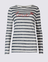 M&S Collection Pure Cotton Striped Long Sleeve Sweatshirt