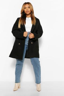 boohoo PLUS Oversized Double Breasted Wool Look Coat