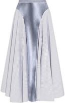 ADAM by Adam Lippes Asymmetric Striped Cotton-Poplin Midi Skirt