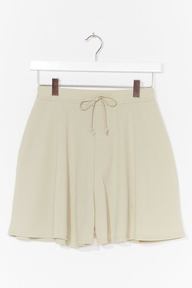Nasty Gal Womens Tie Up Loose Ends Ribbed High-Waisted Shorts - Green - 8