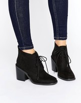 London Rebel Lace Up Mid Heel Boots