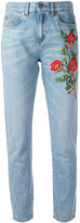 Gucci embroidered flower jeans - women - Cotton - 27