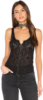 Free People Piece Dye Pucker Lace Cami in Black