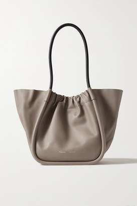 Proenza Schouler L Ruched Two-tone Leather Tote - Taupe