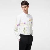 Paul Smith Men's Slim-Fit White 'Photo Floral' Print Cotton Shirt