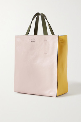 Marni Museo Small Color-block Crinkled-leather Tote - Pastel pink
