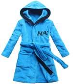 feetoo [] Blue children's bath robe coral cashmere warm boy's nightgown