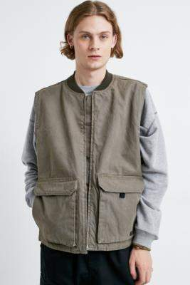 Urban Outfitters Khaki Canvas Utility Gilet - green S at