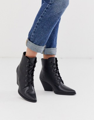 Qupid lace up western ankle boots